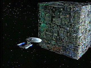 l'Enterprise affronta un cubo Borg
